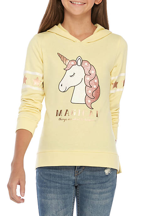 btween Girls 7-16 Sparkle Unicorn Fleece Hoodie