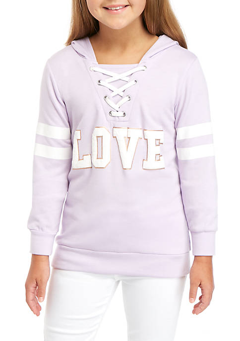btween Girls 7-16 Long Sleeve Lace Up Love