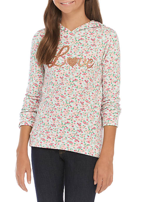 Girls 7-16 Allover Floral Love Hoodie