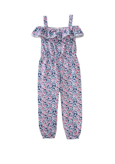 btween Girls 4-6x Floral Stripe Pompom Jumpsuit