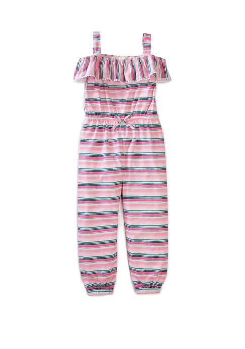 btween Girls 4-6x Stripe Pompom Jumpsuit