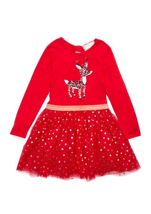 btween Girls 4-6x Reindeer Tulle Dress