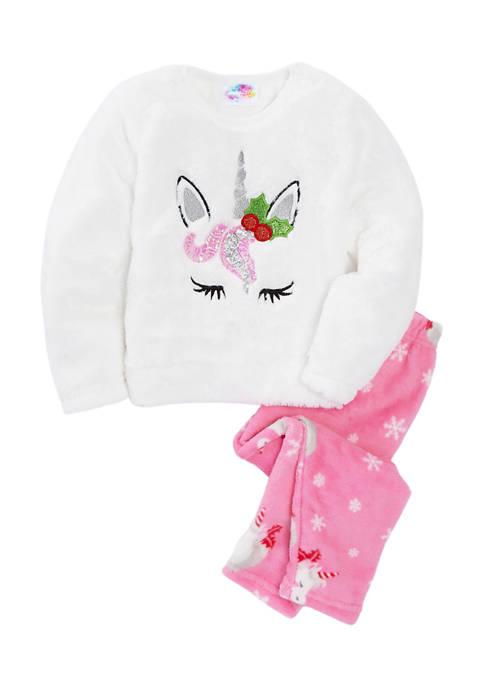 btween Girls 4-6x Holiday Unicorn Sequin Pajama Set
