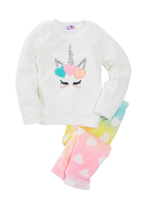 btween Girls 4-6x Unicorn Fur Patch Pajama Set