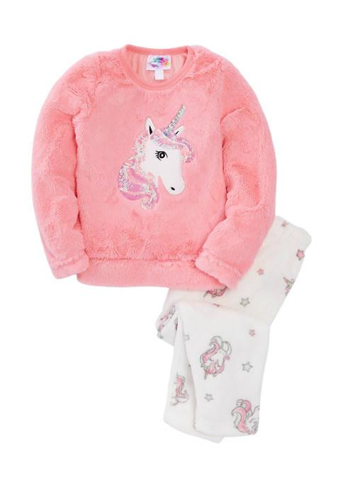 btween Girls 4-6x Unicorn Sequins Pajama Set