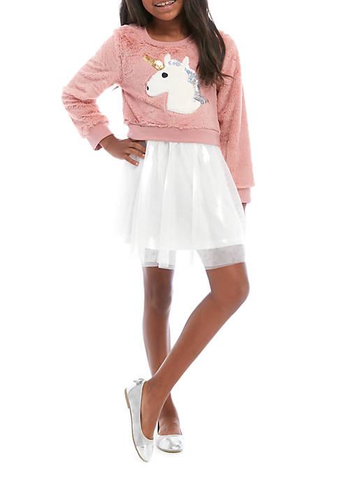 btween Girls 7-16 Woobie Unicorn Tutu Dress