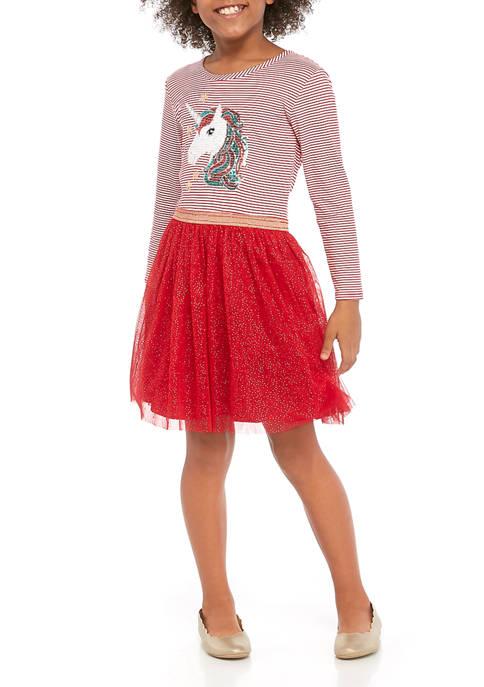 btween Girls 7-16 Long Sleeve Striped Knit Dress