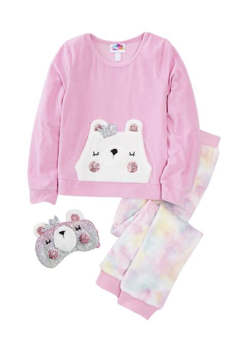 btween Girls 7-16 Kangaroo Pocket Eye Mask Pajama