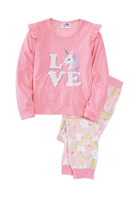 btween Girls 7-16 Love Unicorn Velour Pajama Set