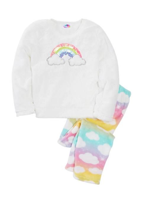 btween Girls 7-16 Multicolored Cloud Print Sequin Rainbow