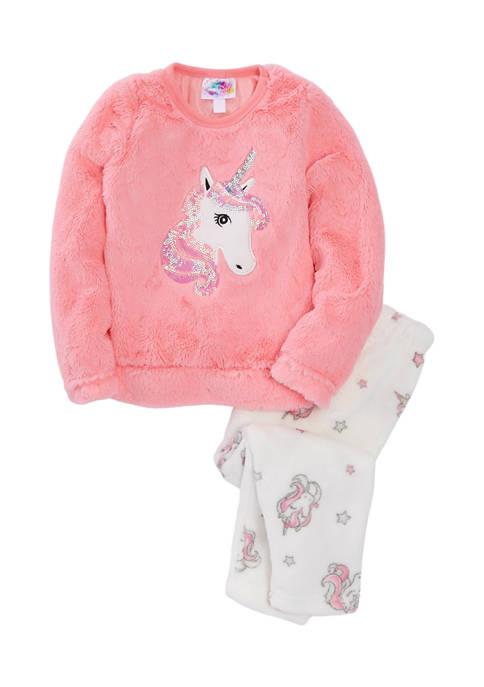 btween Girls 7-16 Sequin Unicorn Graphic Fuzzy Pajama