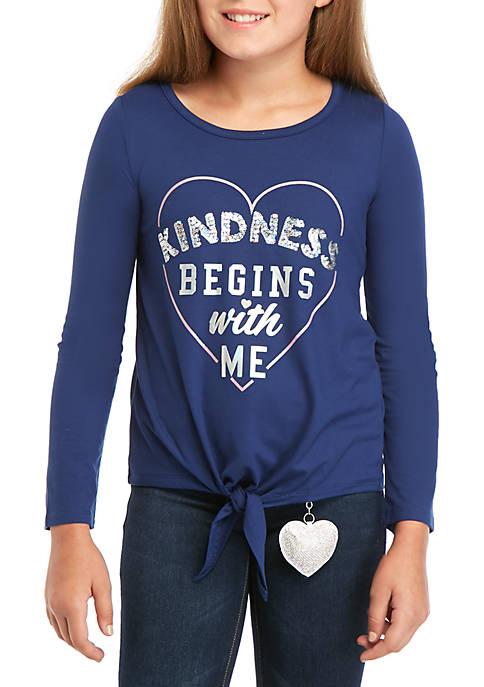 btween Girls 7-16 Long Sleeve Tie Front Kindness