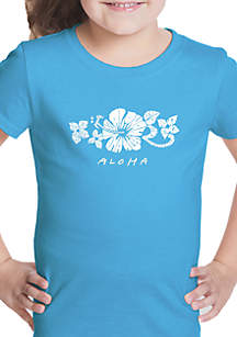 LA Pop Art Girls 7-16 Word Art T Shirt- Aloha