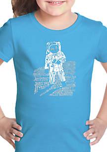 LA Pop Art Girls 7-16 Word Art T Shirt- Astronaut