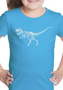 LA Pop Art Girls 7-16 Word Art T Shirt - Dinosaur T-Rex Skeleton