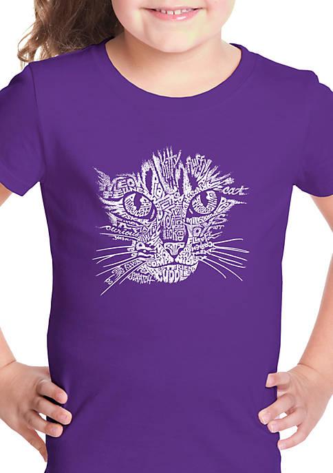 Girls 7-16 Word Art T Shirt - Cat Face