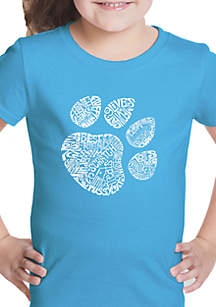 LA Pop Art Girls 7-16 Word Art T Shirt - Cat Paw