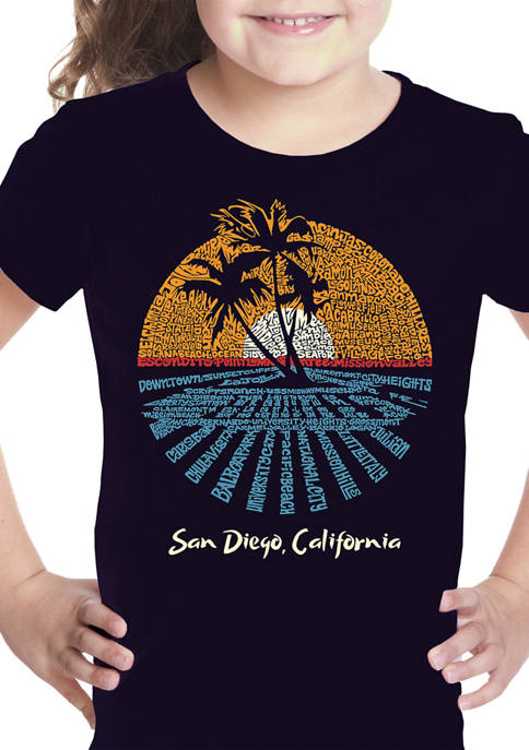Girls 7-16 Word Art Graphic T-Shirt - Cities in San Diego