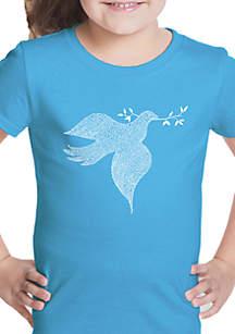 LA Pop Art Girls 7-16 Word Art T Shirt - Dove