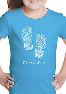 LA Pop Art Girls 7-16 Word Art T Shirt - Beach Bum