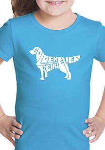 LA Pop Art Girls 7-16 Word Art T Shirt - Golden Retriever