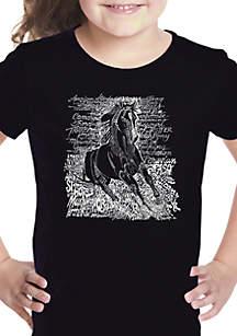 LA Pop Art Girls 7-16 Word Art T Shirt - Popular Horse Breeds