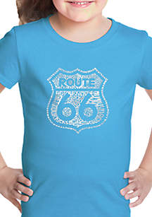 LA Pop Art Girls 7-16 Word Art T Shirt - Get Your Kicks on Route 66