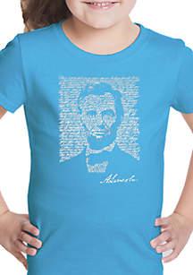 LA Pop Art Girls 7-16 Word Art T Shirt - Abraham Lincoln's Gettysburg Address