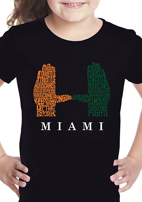 Girls 7-16 Word Art Graphic T-Shirt - Miami Hurricanes Hand Symbol