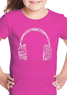 LA Pop Art Girls 7-16 Word Art T Shirt - Headphones Languages