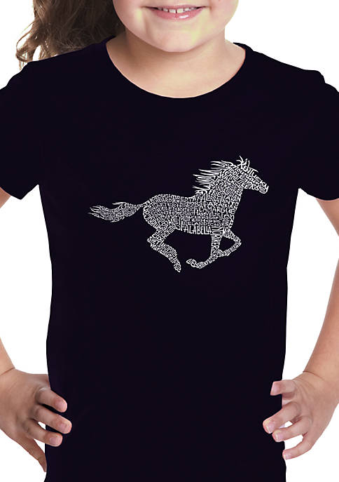 Girls 7-16 Word Art Graphic T-Shirt - Horse Breeds