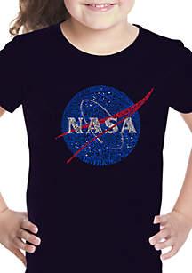 LA Pop Art Girls 7-16 Word Art T Shirt - NASA's Most Notable Missions