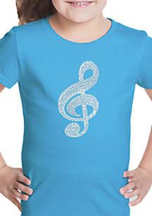 LA Pop Art Girls 7-16 Word Art T Shirt - Music Note