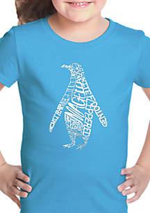 LA Pop Art Girls 7-16 Word Art T Shirt - Penguin