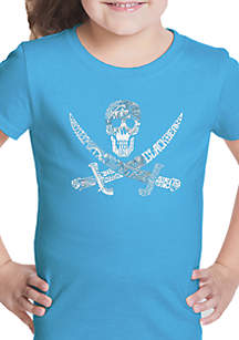 LA Pop Art Girls 7-16 Word Art T Shirt - Pirate Captains Ships and Imagery