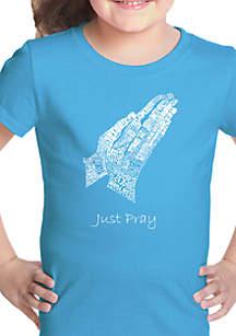 LA Pop Art Girls 7-16 Word Art T Shirt - Prayer Hands