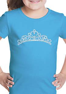 LA Pop Art Girls 7-16 Word Art T Shirt - Princess Tiara