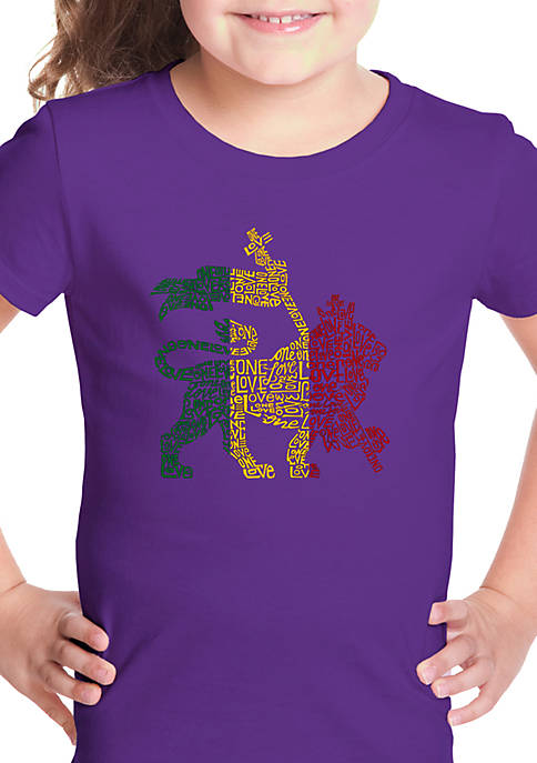 Girls 7-16 Word Art Graphic T-Shirt - Rasta Lion One Love