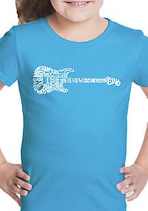 LA Pop Art Girls 7-16 Word Art T Shirt - Rock Guitar