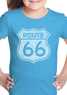 LA Pop Art Girls 7-16 Word Art T Shirt - Cities Along the Legendary Route 66