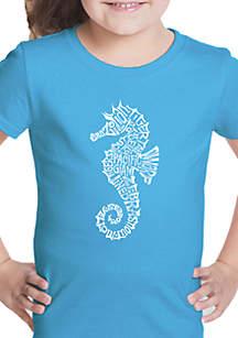 LA Pop Art Girls 7-16 Word Art T Shirt - Types of Seahorses