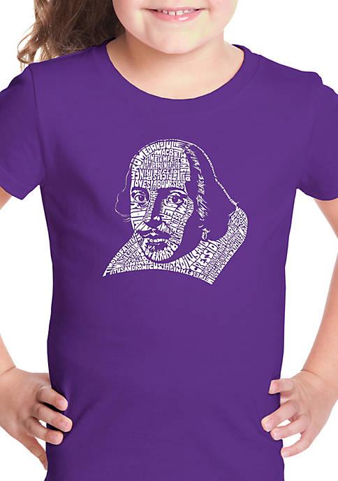 Girls 7-16 Word Art T Shirt - Titles Comedies and Tragedies