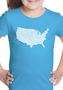 LA Pop Art Girls 7-16 Word Art T Shirt - The Star Spangled Banner