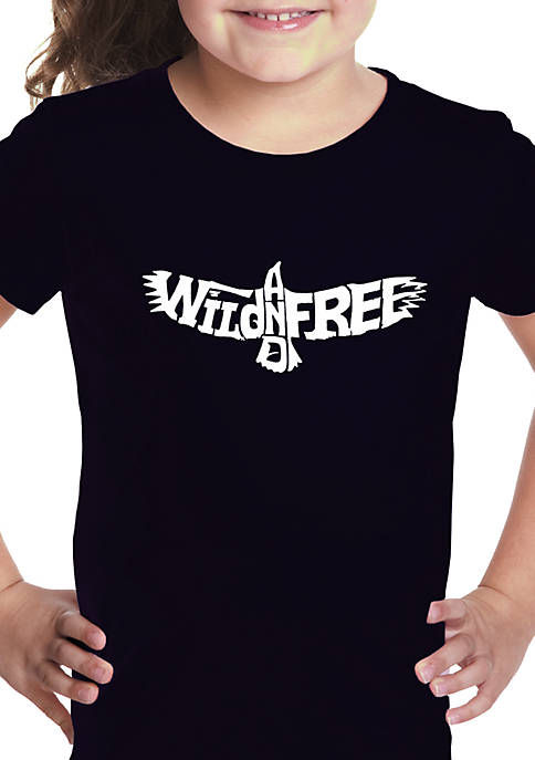 Girls 7-16 Word Art Graphic T-Shirt - Wild and Free Eagle