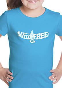 LA Pop Art Girls 7-16 Word Art T Shirt - Wild and Free Eagle