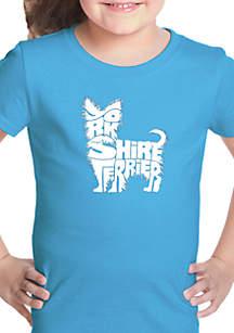 LA Pop Art Girls 7-16 Word Art T Shirt - Yorkie
