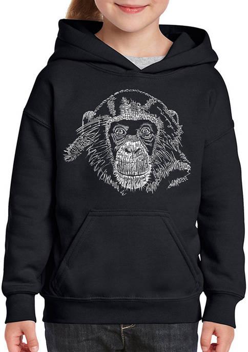 Girls 7-16 Word Art Hooded Graphic Sweatshirt - Chimpanzee