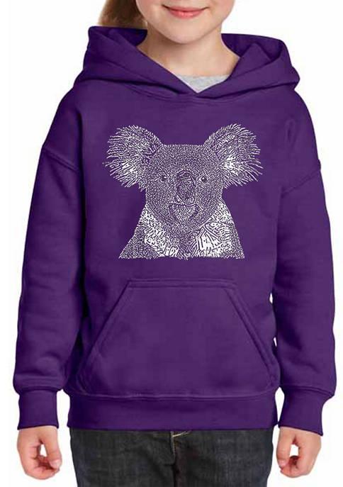 Girls 7-16 Word Art Hooded Graphic Sweatshirt - Koala