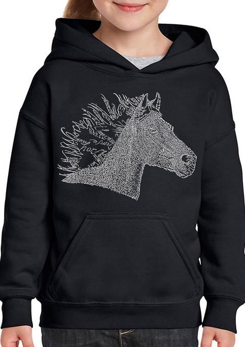 Girls 7-16 Word Art Hooded Graphic Sweatshirt - Horse Mane