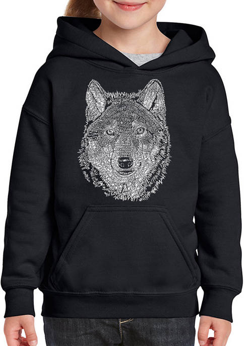 Girls 7-16 Word Art Hooded Sweatshirt - Wolf